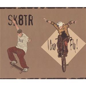 York Wallcoverings Teen Skateboarder Wallpaper Border - Brown