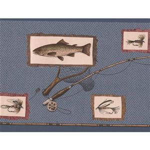 Retro Art Fish Bait and Hook Kitchen Wallpaper Border - Grey