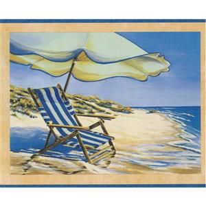 Retro Art Beach Chair Recliner and Umbrella Wallpaper