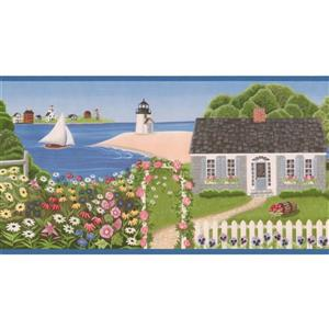 Retro Art Cottages, Sailboats and Lighthouses Wallpaper Border