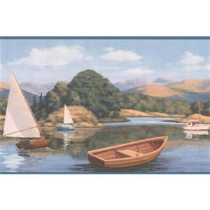 Retro Art Sailboats on Lake Wallpaper Border