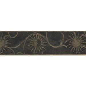 Retro Art Vintage Sun Damask Wallpaper Border - Beige/Grey