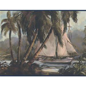 York Wallcoverings Sail Boats and Jungle Palm Trees Wallpaper Border