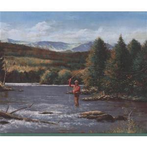 Retro Art Fisherman with Rod Wallpaper Border