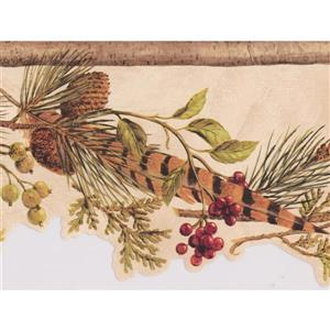 Chesapeake Pine Cones and Feather Gooseberry Wallpaper - Coconut