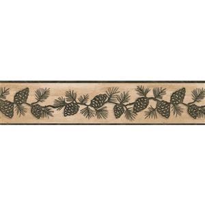 Chesapeake Pine Cones on Vine Wallpaper Border - Green/Beige