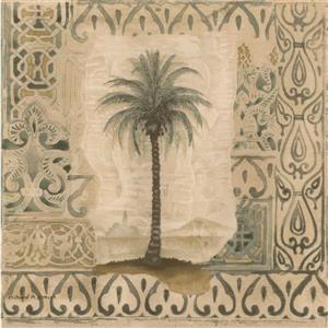 Norwall Palm Trees in Vintage Frames Damask Wallpaper