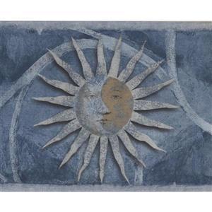 Norwall Sun Damask Wallpaper Border - Beige/Blue