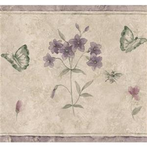 Norwall Abstract Flowers and Butterflies Wallpaper - Beige