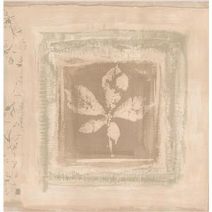 Norwall Vintage Rustic Leaves Wallpaper Border - Beige
