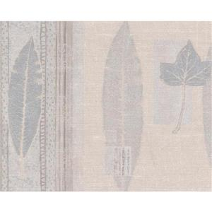 Norwall Abstract Leaves Wallpaper Border Roll - Beige