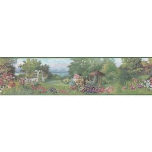 Retro Art Countryside Vintage Wallpaper Border - Green