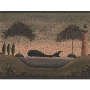 York Wallcoverings Vintage Ship and Whale Wallpaper Border - Grey