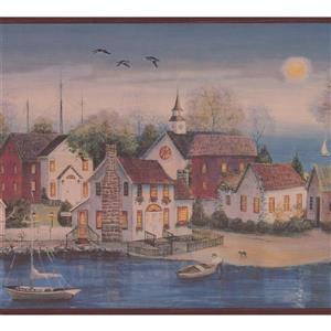 Chesapeake Village on the Lake at Night Wallpaper - Grey