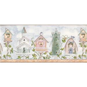 York Wallcoverings Colorful Birdhouses and Flowers Wallpaper - Blue/White