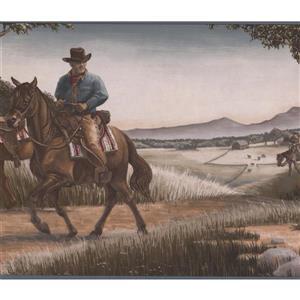 Retro Art Cowboys Wallpaper Border - Grey