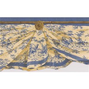 Retro Art Window Valance Wallpaper Border - Blue/Yellow