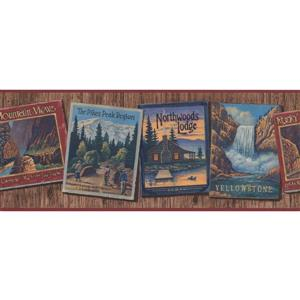 York Wallcoverings Famous Nature Places on Cards Wallpaper