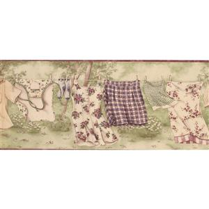 Retro Art Clothes on the Drying Line Vintage Wallpaper - Olive Green