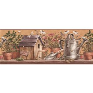 York Wallcoverings Flowers in Pots and Watering Can Wallpaper - Brown