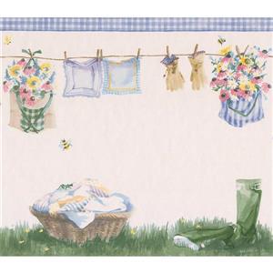 Retro Art Laundry Basket and Drying Line Wallpaper - Eggshell