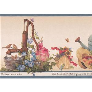 Retro Art Watering Can and Flower Pot Wallpaper