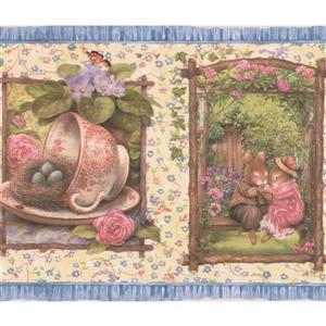 Retro Art Teacups and Mice Rustic Wallpaper