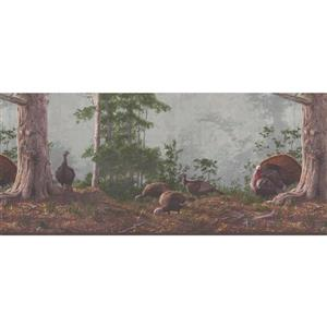 Retro Art Turkeys in the Forest Wallpaper - Brown/Green