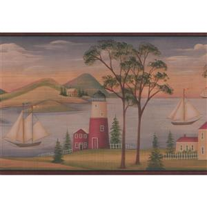 Chesapeake River with Sailboats Wallpaper Border
