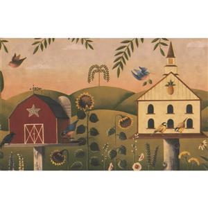 Chesapeake Flowers and Birdhouses Wallpaper - Beige