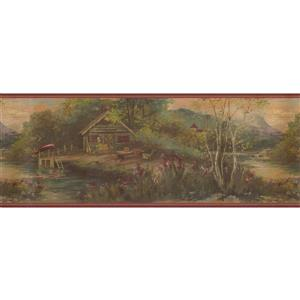 Retro Art Vintage Wooden House by Mountain Wallpaper - Green