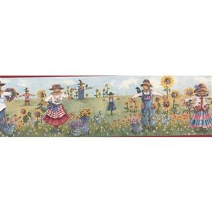 Retro Art Sunflowers and Scarecrows Wallpaper - Blue