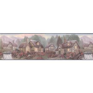 Retro Art Vintage Village on the River Wallpaper - Green/Purple