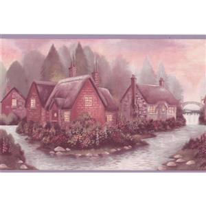 Retro Art Vintage Village on the River Wallpaper  - Green