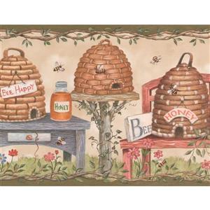 Retro Art Bees and Flowers Wallpaper Border
