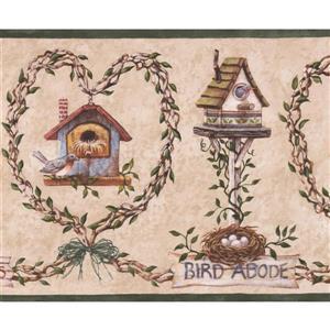 Retro Art Birds Nest Wallpaper Border - Beige/Brown