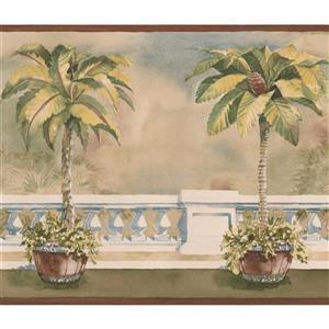 Norwall Trees in Pots on the Balcony Wallpaper -  Brown/Beige