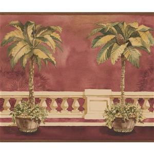 Norwall Trees in Pots on the Balcony Wallpaper Border