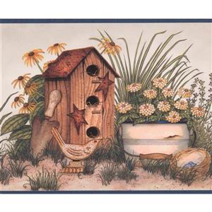 Chesapeake Birdhouses and Flower Pots Wallpaper - Blue/Beige