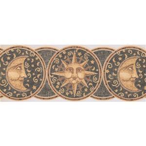 Retro Art Plates with Mosaic Sun, Moon and Stars - Yellow/Black