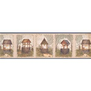 Chesapeake Brick and Wooden Water Wells Wallpaper - Blue/Beige