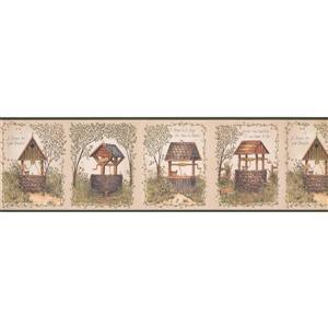 Chesapeake Brick and Wooden Water Wells Wallpaper - Green/Beige