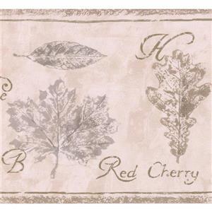Retro Art Kids Educational Leaves Nature Wallpaper - Brown/Beige