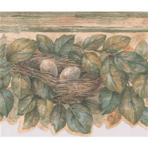 Retro Art Leaves on Branch with Nest Wallpaper -Brown/Beige