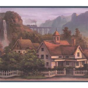 Retro Art Vintage Mountain Village Wallpaper Border - Green