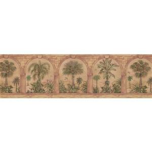 Retro Art Palm Trees through Arch Columns - Green