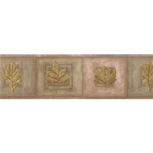 Retro Art Leaves on Plaques Vintage Wallpaper - Green