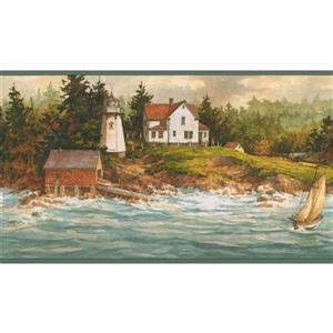 Retro Art Boat and Lighthouse Vintage Wallpaper - Blue