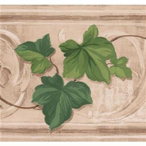 Retro Art Leaves on Vine Damask Wallpaper - Green/Beige