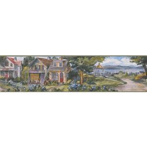 Retro Art Village Main Street with Lake Vintage Wallpaper